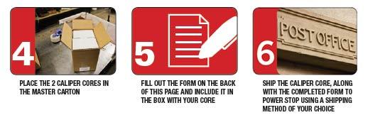 Caliper Core Return - Steps 4, 5 and 6